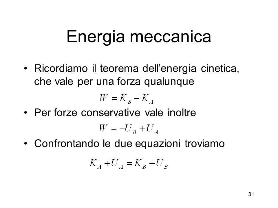 Energia meccanica Ricordiamo il teorema dellenergia cinetica, che vale per una forza qualunque Per forze conservative vale inoltre Confrontando le due