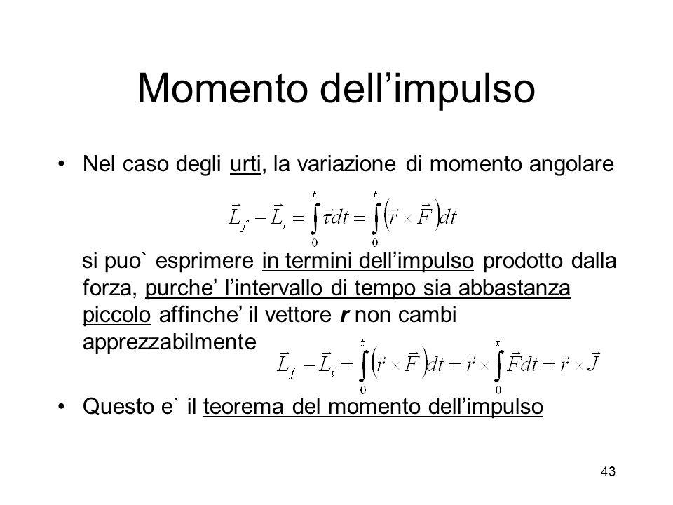 Momento dellimpulso Nel caso degli urti, la variazione di momento angolare si puo` esprimere in termini dellimpulso prodotto dalla forza, purche linte