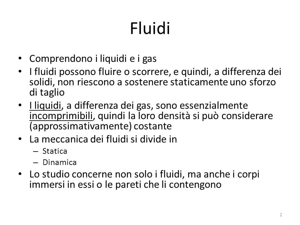 Fluidi Comprendono i liquidi e i gas I fluidi possono fluire o scorrere, e quindi, a differenza dei solidi, non riescono a sostenere staticamente uno