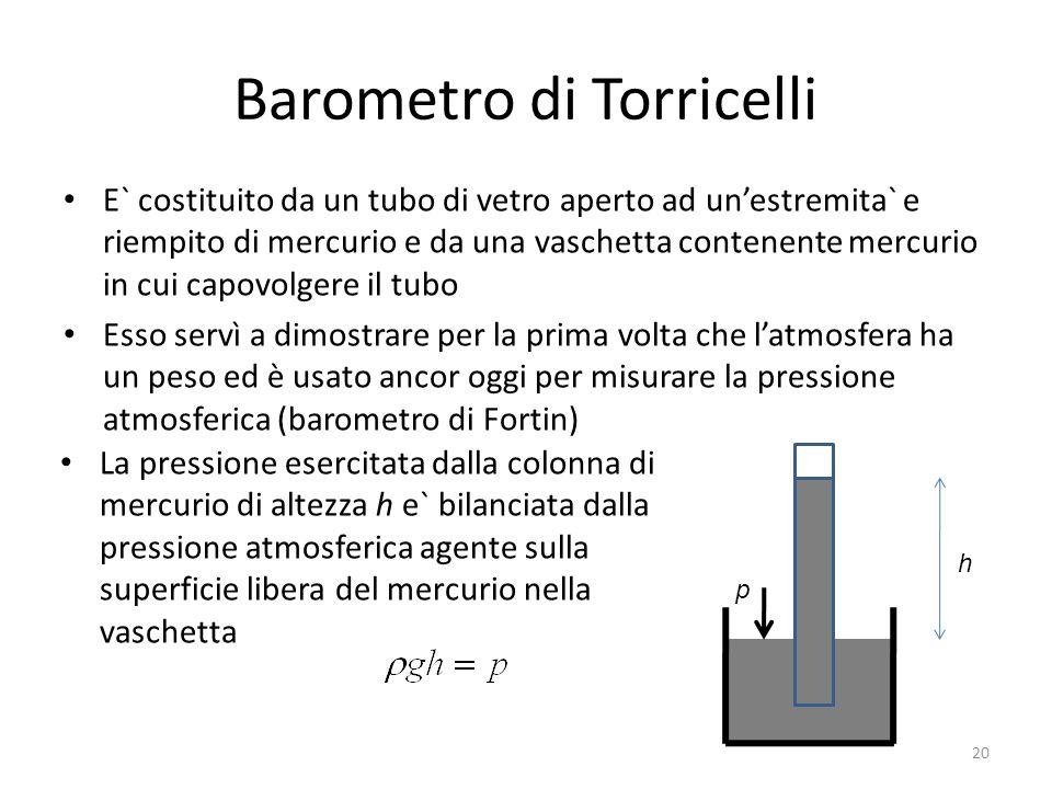 Barometro di Torricelli E` costituito da un tubo di vetro aperto ad unestremita` e riempito di mercurio e da una vaschetta contenente mercurio in cui