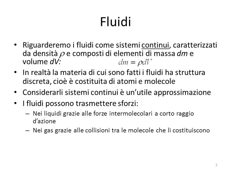 Fluidi Riguarderemo i fluidi come sistemi continui, caratterizzati da densità e composti di elementi di massa dm e volume dV: In realtà la materia di