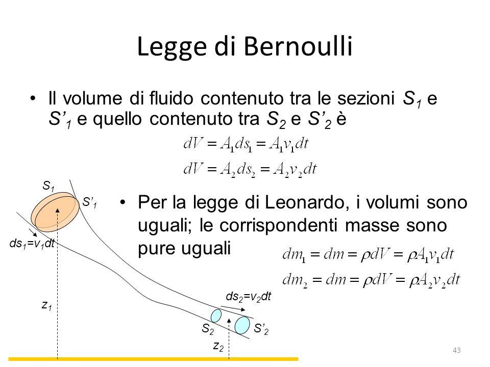 Legge di Bernoulli Il volume di fluido contenuto tra le sezioni S 1 e S 1 e quello contenuto tra S 2 e S 2 è Per la legge di Leonardo, i volumi sono u