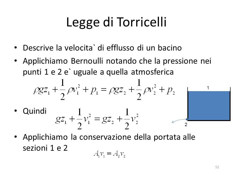 Legge di Torricelli Descrive la velocita` di efflusso di un bacino Applichiamo Bernoulli notando che la pressione nei punti 1 e 2 e` uguale a quella a