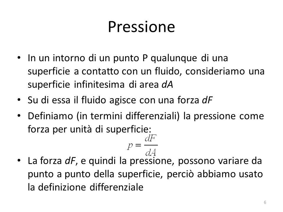 Pressione In un intorno di un punto P qualunque di una superficie a contatto con un fluido, consideriamo una superficie infinitesima di area dA Su di