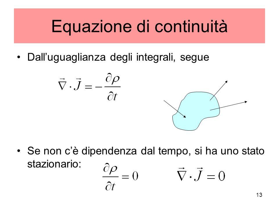 Equazione di continuità Dalluguaglianza degli integrali, segue Se non cè dipendenza dal tempo, si ha uno stato stazionario: 13