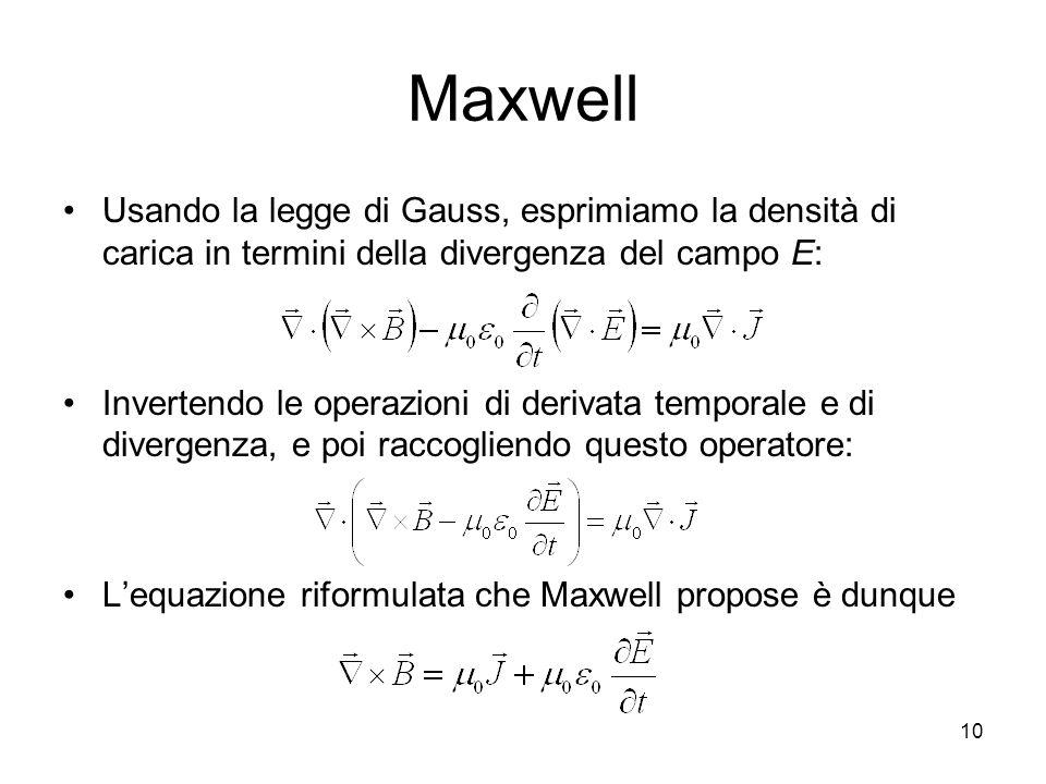 Maxwell Usando la legge di Gauss, esprimiamo la densità di carica in termini della divergenza del campo E: Invertendo le operazioni di derivata tempor