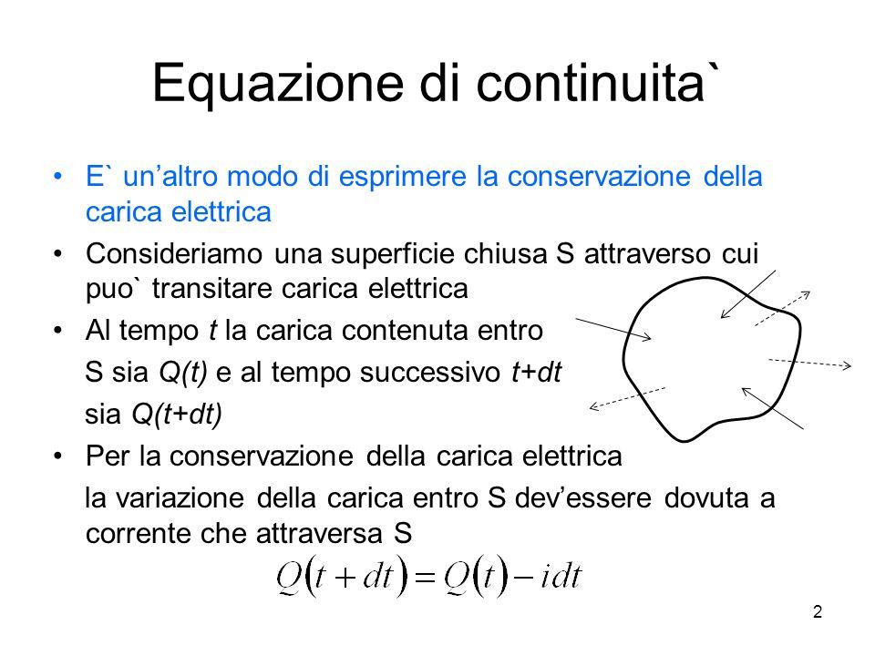 Equazione di continuita` E` unaltro modo di esprimere la conservazione della carica elettrica Consideriamo una superficie chiusa S attraverso cui puo`
