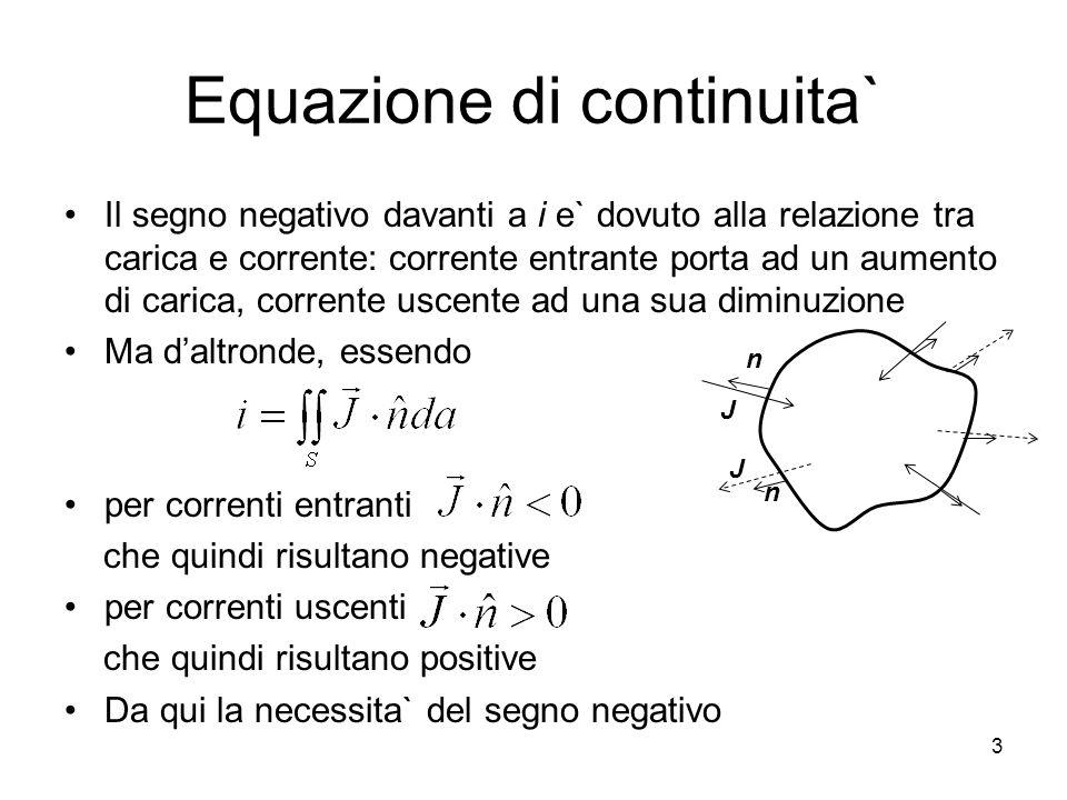 Equazione di continuita` Il segno negativo davanti a i e` dovuto alla relazione tra carica e corrente: corrente entrante porta ad un aumento di carica