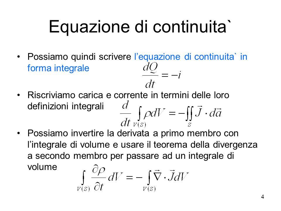 Equazione di continuita` Possiamo quindi scrivere lequazione di continuita` in forma integrale Riscriviamo carica e corrente in termini delle loro def