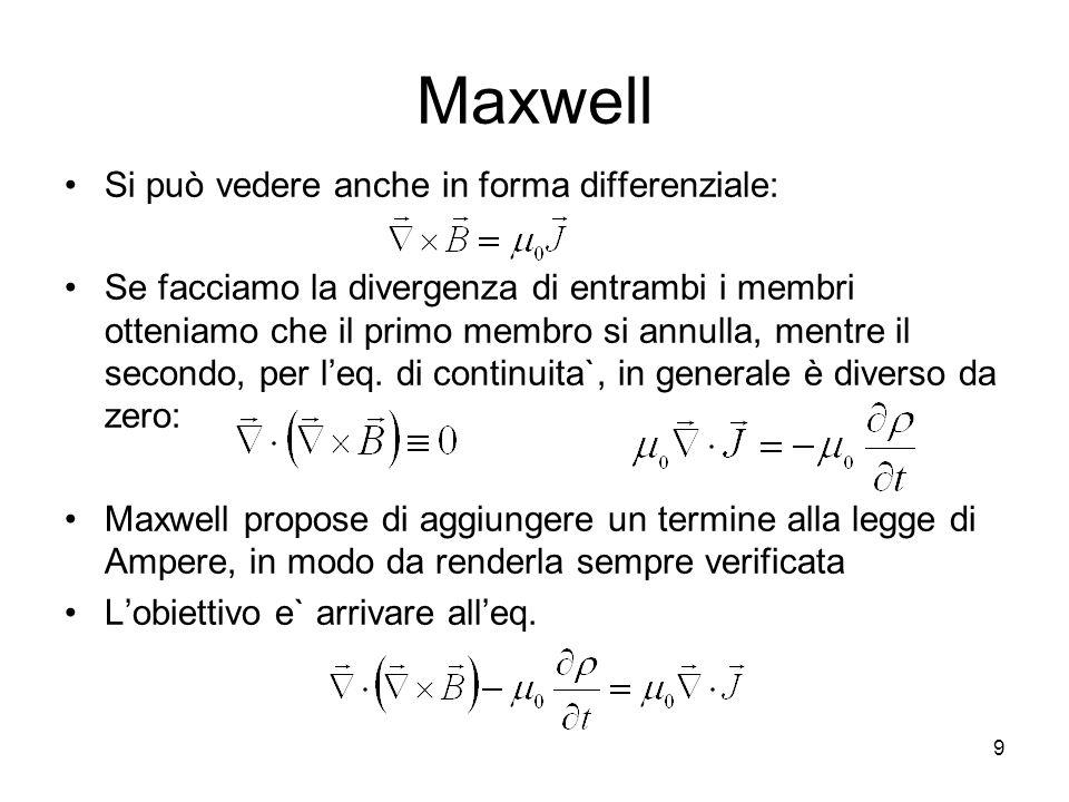 Maxwell Si può vedere anche in forma differenziale: Se facciamo la divergenza di entrambi i membri otteniamo che il primo membro si annulla, mentre il