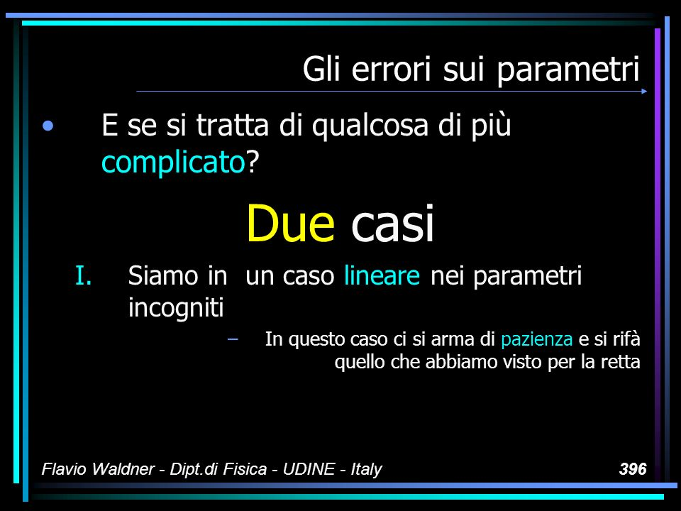 Flavio Waldner - Dipt.di Fisica - UDINE - Italy396 Gli errori sui parametri E se si tratta di qualcosa di più complicato.