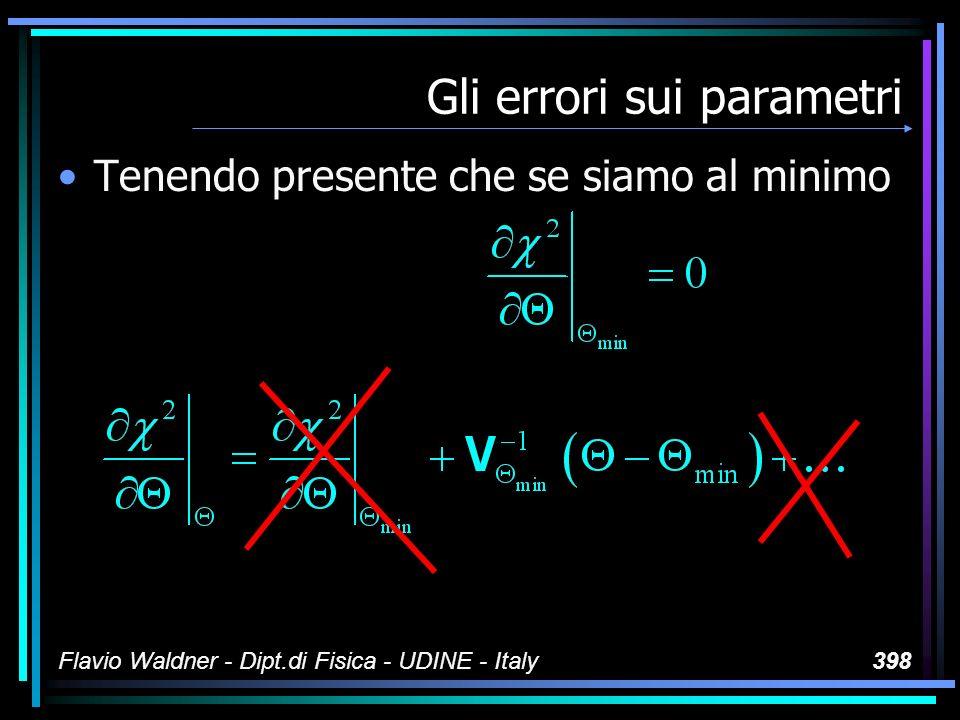 Flavio Waldner - Dipt.di Fisica - UDINE - Italy398 Gli errori sui parametri Tenendo presente che se siamo al minimo