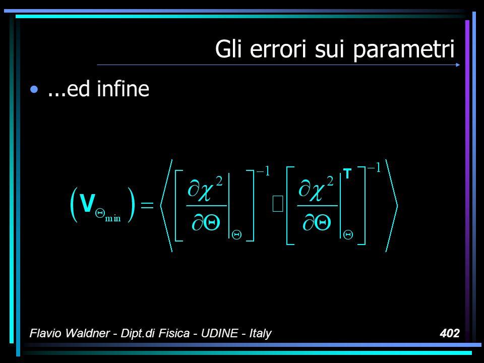 Flavio Waldner - Dipt.di Fisica - UDINE - Italy402 Gli errori sui parametri...ed infine
