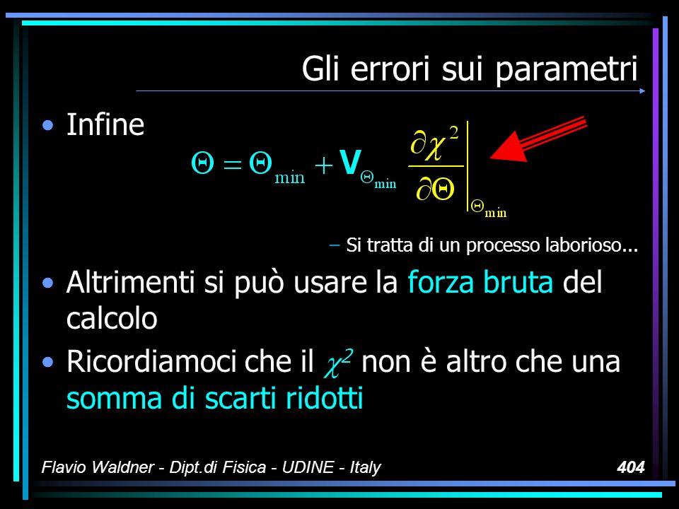 Flavio Waldner - Dipt.di Fisica - UDINE - Italy404 Gli errori sui parametri Infine –Si tratta di un processo laborioso...