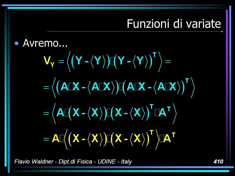 Flavio Waldner - Dipt.di Fisica - UDINE - Italy410 Funzioni di variate Avremo...