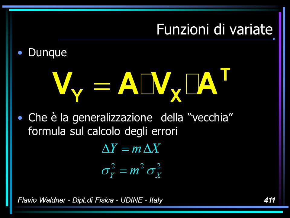 Flavio Waldner - Dipt.di Fisica - UDINE - Italy411 Funzioni di variate Dunque Che è la generalizzazione della vecchia formula sul calcolo degli errori