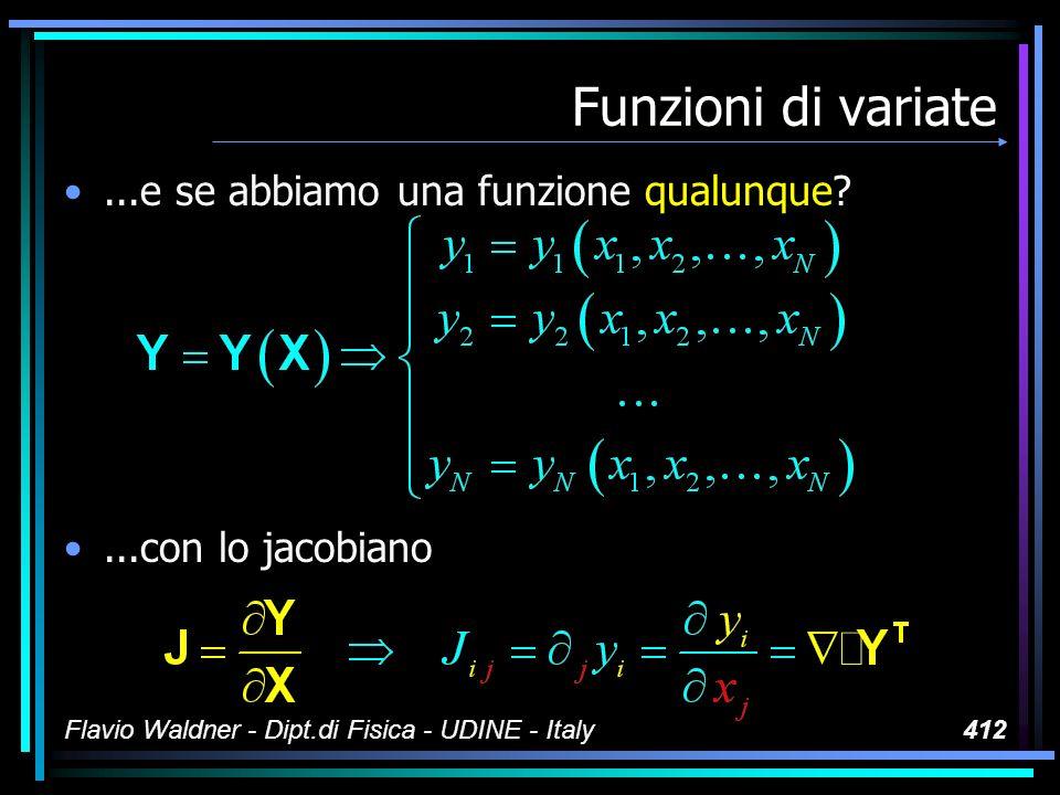 Flavio Waldner - Dipt.di Fisica - UDINE - Italy412 Funzioni di variate...e se abbiamo una funzione qualunque?...con lo jacobiano