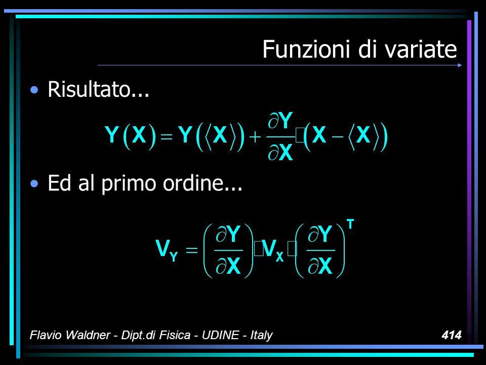 Flavio Waldner - Dipt.di Fisica - UDINE - Italy414 Funzioni di variate Risultato...