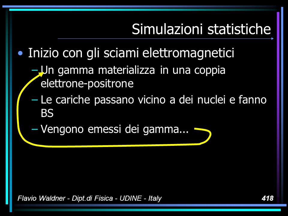 Flavio Waldner - Dipt.di Fisica - UDINE - Italy418 Simulazioni statistiche Inizio con gli sciami elettromagnetici –Un gamma materializza in una coppia elettrone-positrone –Le cariche passano vicino a dei nuclei e fanno BS –Vengono emessi dei gamma...