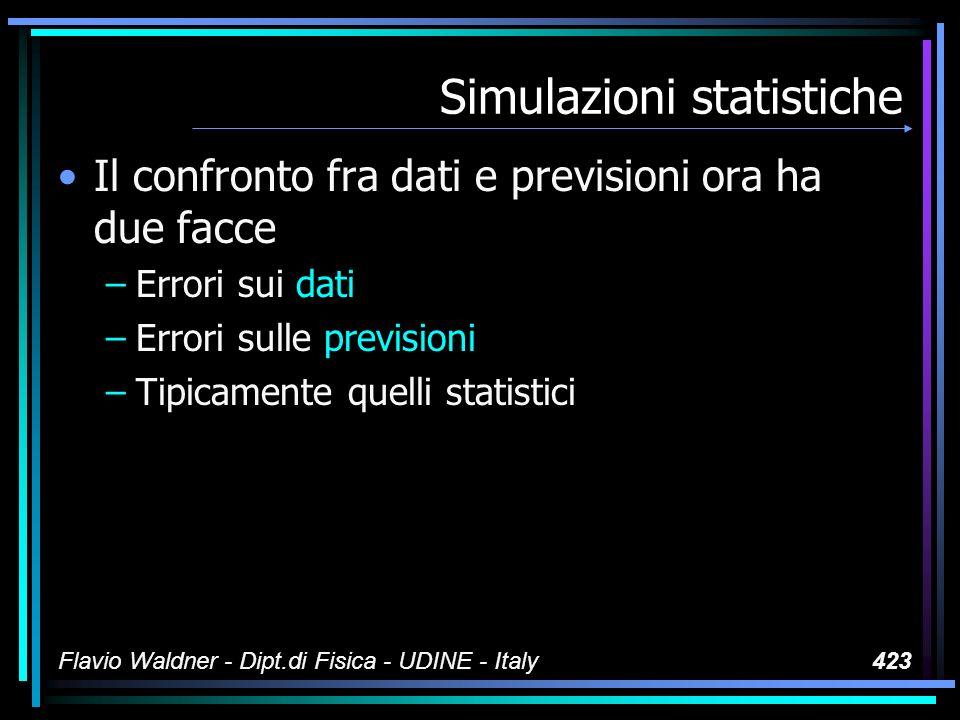Flavio Waldner - Dipt.di Fisica - UDINE - Italy423 Simulazioni statistiche Il confronto fra dati e previsioni ora ha due facce –Errori sui dati –Errori sulle previsioni –Tipicamente quelli statistici