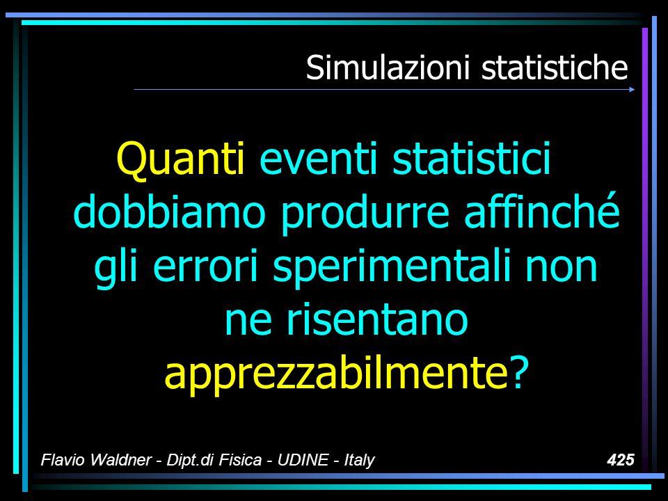 Flavio Waldner - Dipt.di Fisica - UDINE - Italy425 Simulazioni statistiche Quanti eventi statistici dobbiamo produrre affinché gli errori sperimentali non ne risentano apprezzabilmente?