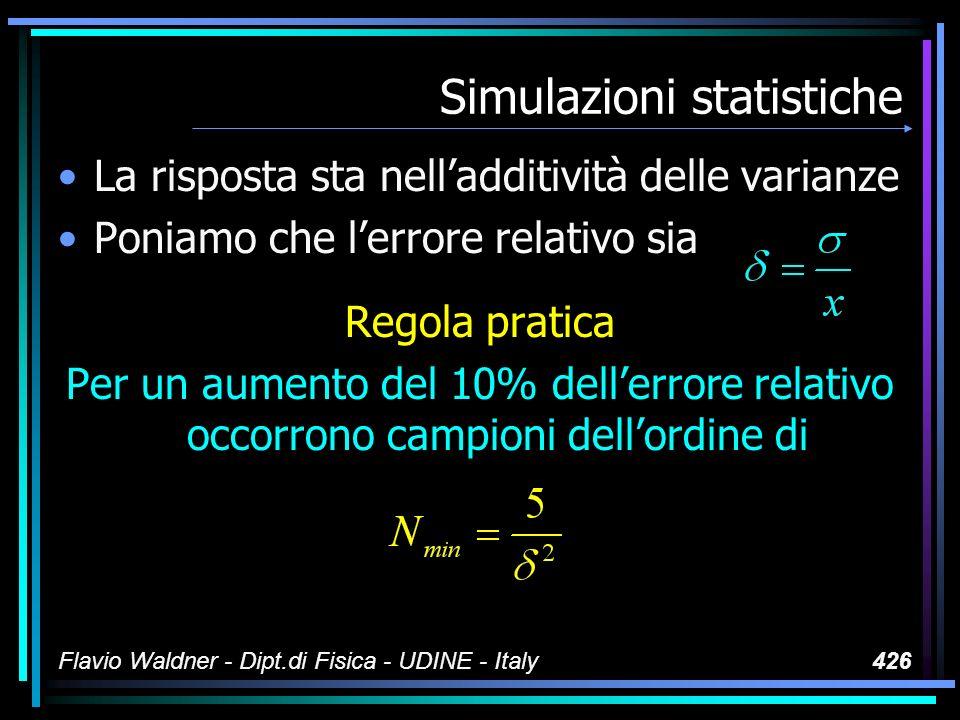 Flavio Waldner - Dipt.di Fisica - UDINE - Italy426 Simulazioni statistiche La risposta sta nelladditività delle varianze Poniamo che lerrore relativo sia Regola pratica Per un aumento del 10% dellerrore relativo occorrono campioni dellordine di
