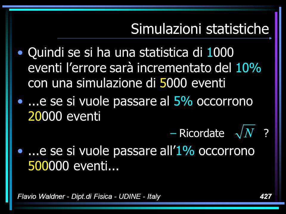 Flavio Waldner - Dipt.di Fisica - UDINE - Italy427 Simulazioni statistiche Quindi se si ha una statistica di 1000 eventi lerrore sarà incrementato del 10% con una simulazione di 5000 eventi...e se si vuole passare al 5% occorrono 20000 eventi –Ricordate ?...e se si vuole passare all1% occorrono 500000 eventi...
