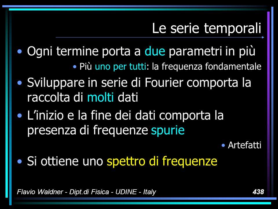 Flavio Waldner - Dipt.di Fisica - UDINE - Italy438 Le serie temporali Ogni termine porta a due parametri in più Più uno per tutti: la frequenza fondamentale Sviluppare in serie di Fourier comporta la raccolta di molti dati Linizio e la fine dei dati comporta la presenza di frequenze spurie Artefatti Si ottiene uno spettro di frequenze