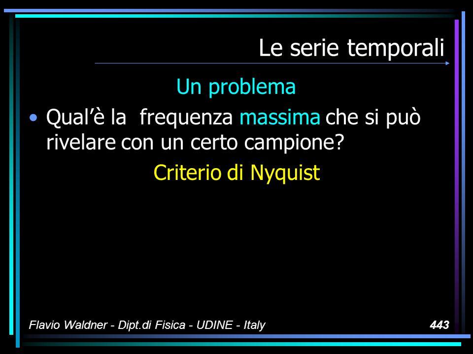 Flavio Waldner - Dipt.di Fisica - UDINE - Italy443 Le serie temporali Un problema Qualè la frequenza massima che si può rivelare con un certo campione.