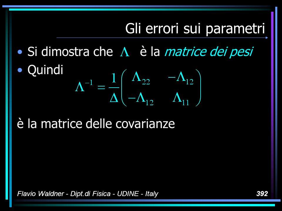 Flavio Waldner - Dipt.di Fisica - UDINE - Italy392 Gli errori sui parametri Si dimostra che è la matrice dei pesi Quindi è la matrice delle covarianze