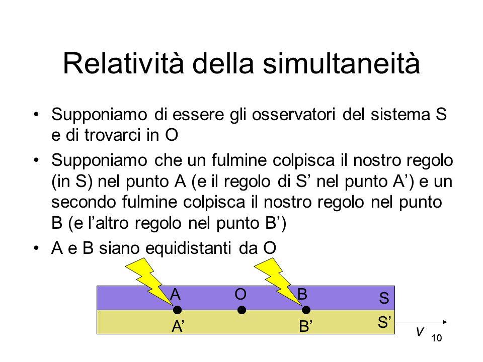 10 Relatività della simultaneità Supponiamo di essere gli osservatori del sistema S e di trovarci in O Supponiamo che un fulmine colpisca il nostro re