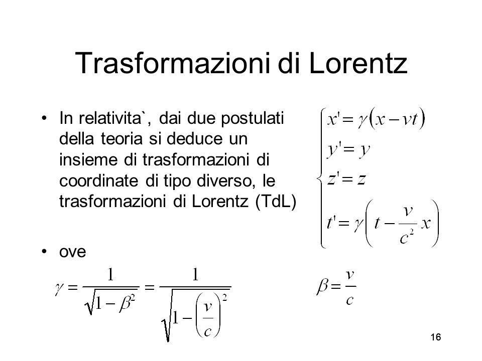 16 Trasformazioni di Lorentz In relativita`, dai due postulati della teoria si deduce un insieme di trasformazioni di coordinate di tipo diverso, le t