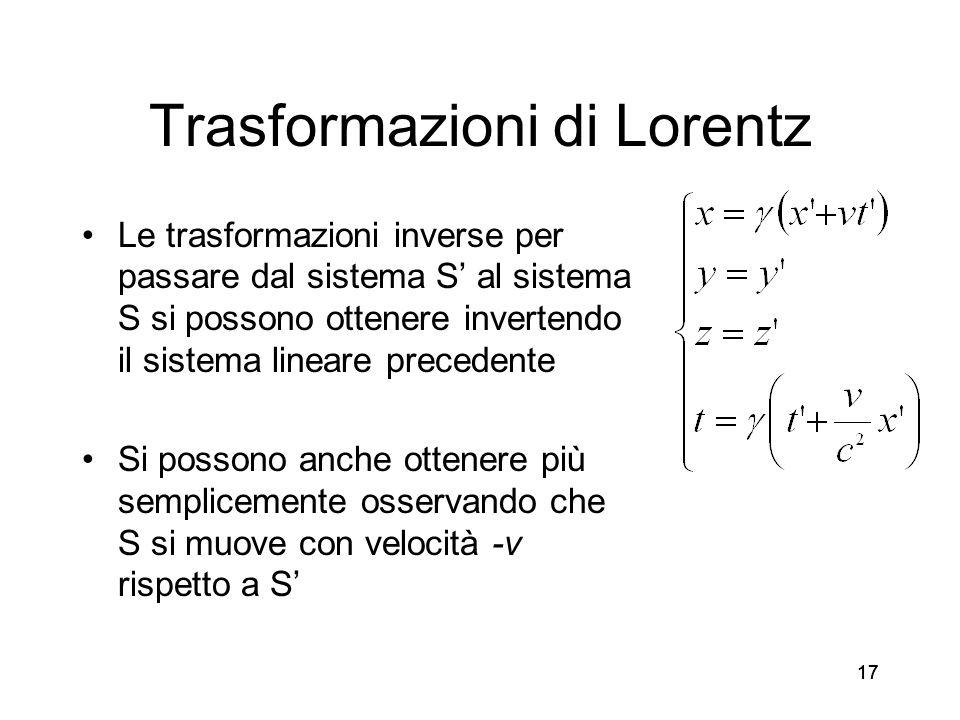 17 Trasformazioni di Lorentz Le trasformazioni inverse per passare dal sistema S al sistema S si possono ottenere invertendo il sistema lineare preced