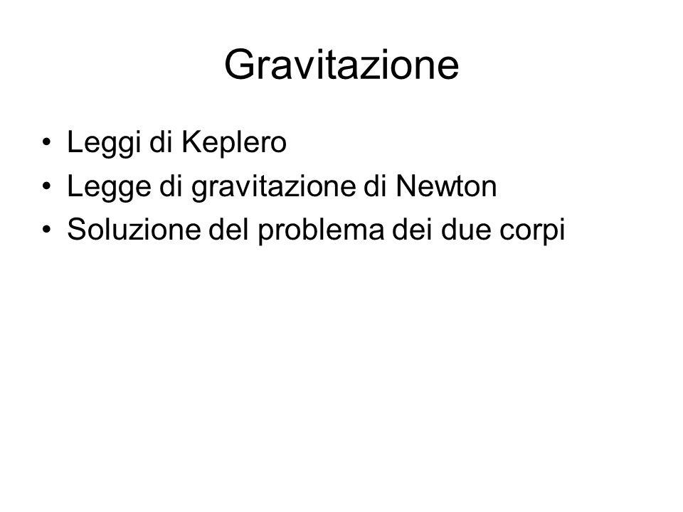 Gravitazione Leggi di Keplero Legge di gravitazione di Newton Soluzione del problema dei due corpi
