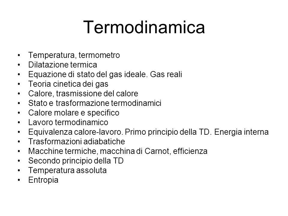 Termodinamica Temperatura, termometro Dilatazione termica Equazione di stato del gas ideale. Gas reali Teoria cinetica dei gas Calore, trasmissione de
