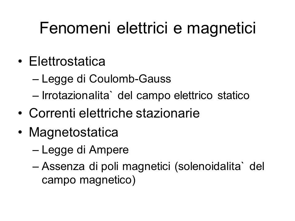 Fenomeni elettrici e magnetici Elettrostatica –Legge di Coulomb-Gauss –Irrotazionalita` del campo elettrico statico Correnti elettriche stazionarie Ma