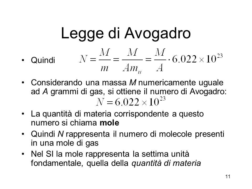 Legge di Avogadro Quindi Considerando una massa M numericamente uguale ad A grammi di gas, si ottiene il numero di Avogadro: La quantità di materia co