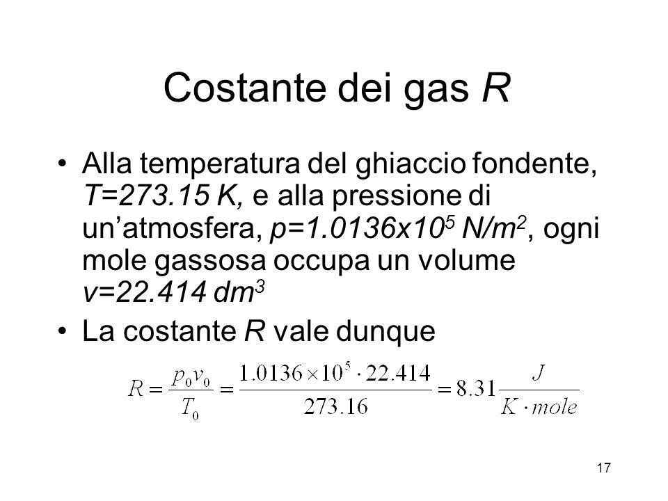 Costante dei gas R Alla temperatura del ghiaccio fondente, T=273.15 K, e alla pressione di unatmosfera, p=1.0136x10 5 N/m 2, ogni mole gassosa occupa