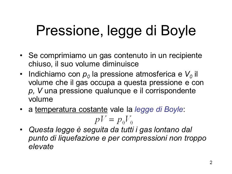 Pressione, legge di Boyle Se comprimiamo un gas contenuto in un recipiente chiuso, il suo volume diminuisce Indichiamo con p 0 la pressione atmosferic