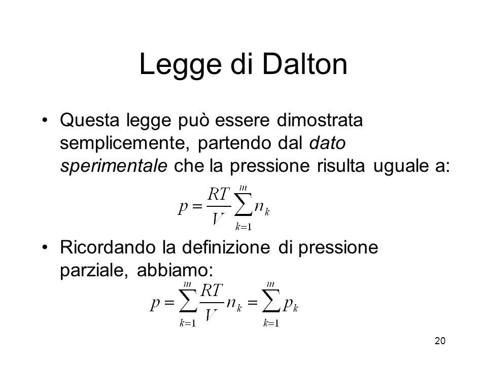 Legge di Dalton Questa legge può essere dimostrata semplicemente, partendo dal dato sperimentale che la pressione risulta uguale a: Ricordando la defi