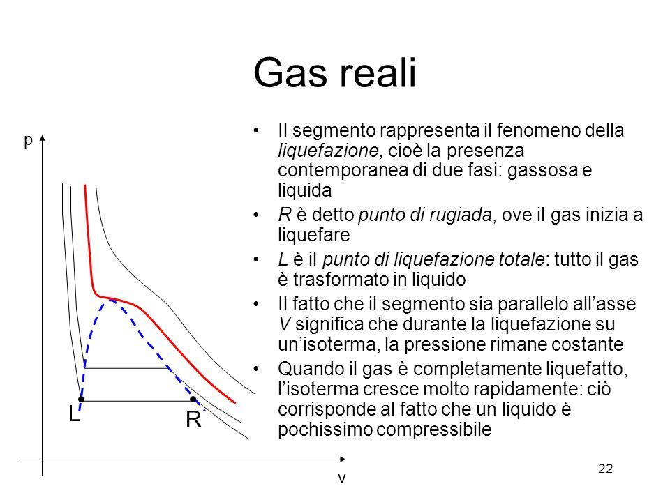 Gas reali v p R L Il segmento rappresenta il fenomeno della liquefazione, cioè la presenza contemporanea di due fasi: gassosa e liquida R è detto punt