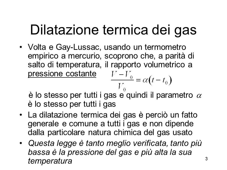 Dilatazione termica dei gas Volta e Gay-Lussac, usando un termometro empirico a mercurio, scoprono che, a parità di salto di temperatura, il rapporto