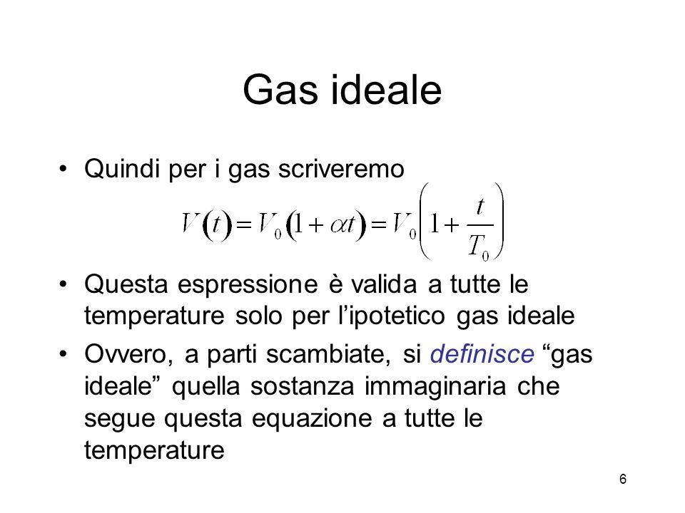 Costante dei gas R Alla temperatura del ghiaccio fondente, T=273.15 K, e alla pressione di unatmosfera, p=1.0136x10 5 N/m 2, ogni mole gassosa occupa un volume v=22.414 dm 3 La costante R vale dunque 17