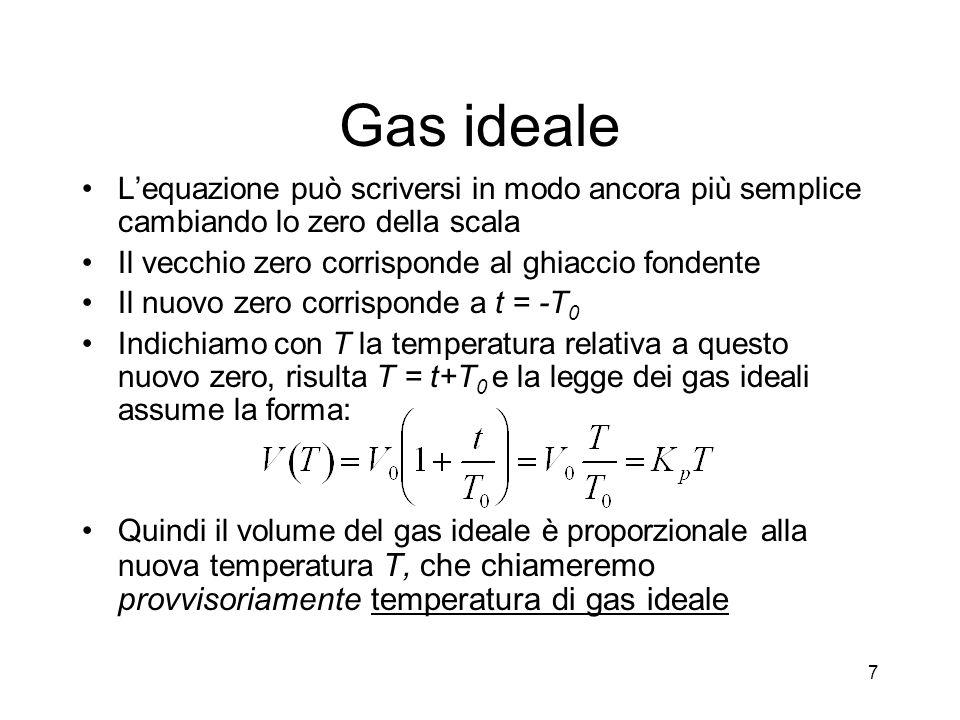 Equazione di stato del gas ideale La legge risulta in tutta generalità: A temperatura costante, nel piano p,V questa legge è rappresentata da uniperbole Per gas che non siano in condizioni di idealità, o per sostanze fluide omogenee ed isotrope, sussistono relazioni analoghe ma più complicate 18
