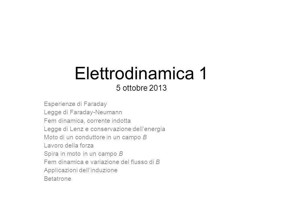 Elettrodinamica 1 5 ottobre 2013 Esperienze di Faraday Legge di Faraday-Neumann Fem dinamica, corrente indotta Legge di Lenz e conservazione dellenerg