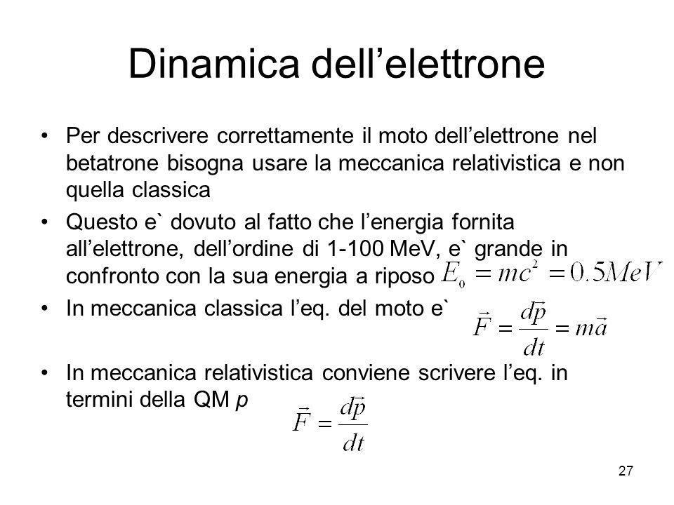 Dinamica dellelettrone Per descrivere correttamente il moto dellelettrone nel betatrone bisogna usare la meccanica relativistica e non quella classica