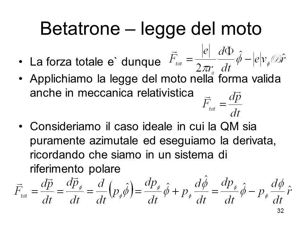 Betatrone – legge del moto La forza totale e` dunque Applichiamo la legge del moto nella forma valida anche in meccanica relativistica Consideriamo il