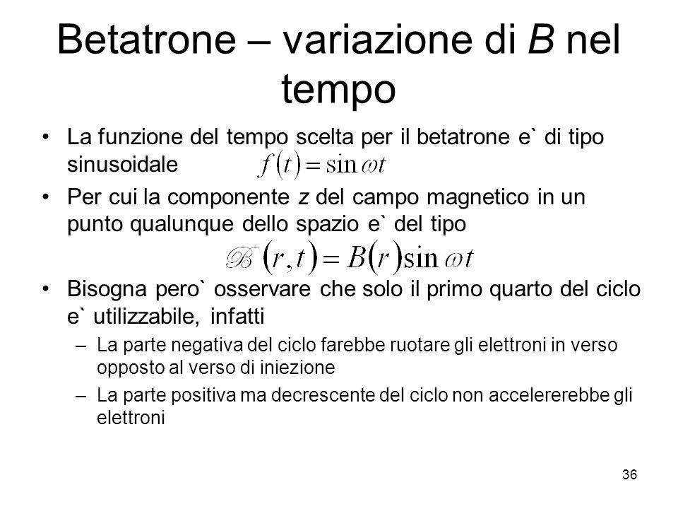 Betatrone – variazione di B nel tempo La funzione del tempo scelta per il betatrone e` di tipo sinusoidale Per cui la componente z del campo magnetico