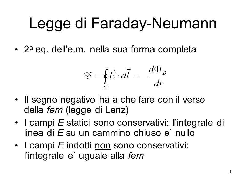 Legge di Faraday-Neumann 2 a eq. delle.m. nella sua forma completa Il segno negativo ha a che fare con il verso della fem (legge di Lenz) I campi E st