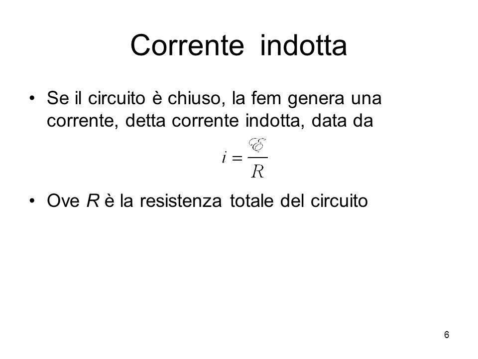 Corrente indotta Se il circuito è chiuso, la fem genera una corrente, detta corrente indotta, data da Ove R è la resistenza totale del circuito 6